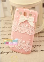 New arrivel case for samsung galaxy SIII S3 i9300   phone shell  rhinestones slim and stylish paste pearl lace bow cute cell