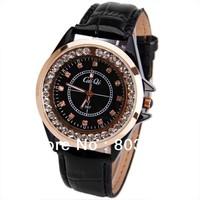 sample CaiQi 587 fashion Women Watch Diamond Squares Hour Marks with Round Dial Leather quartz Watchband wristwatch - Black