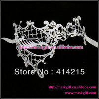 Fedex Free Shipping 48pcs/lot  Luxury Filigree White Metal Mask Venetian Masquerade Masks With Stones MF002-WT - White PHANTOM