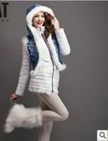 2013 Newest fashion women down jacket &denim vest set,rabbit natural fur hooded down coat for christmas,white S-XL
