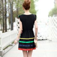 1307 2013 women's slim waist stripe all-match one-piece dress skirt
