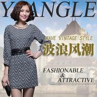 2013 autumn wave stripe slim waist three quarter sleeve one-piece dress skirt 601 all-match basic