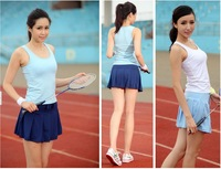 Free shipping  Badminton and Tennis sleeveless vest and culottes suite,outdoor sports Fitness Aerobics sportswear