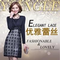 Autumn quality women's ol slim waist formal one-piece dress long-sleeve skirt e03