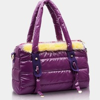 Vogue space cotton women messenger bag rabbit fur women handbag casual candy color shoulder bags