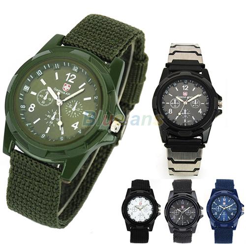 New Solider Military Army Men's Sport Style Canvas Belt Luminous Quartz Wrist Watch 4 Colors 027E(China (Mainland))