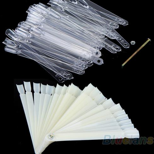 Wholesale 50 PCS False Nail Art Board Tip Stick Sticker Polish Foldable Display Beauty Practice Fan Clear White Sale(China (Mainland))