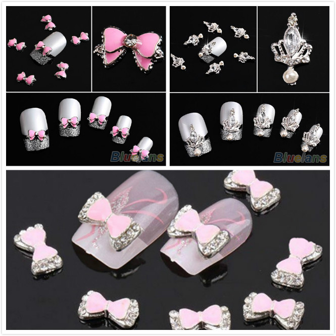 10pcs 3D Silver Crown / Bow Tie Butterfly Crystal Rhinestone Alloy Nail Art Glitters DIY Decoration Sale(China (Mainland))