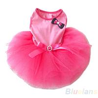 New Cute Tutu Bow Crystal Belt Small Puppy Pet Dog Cat Clothes Mini Dress Pink XS S M L Wholesale 01ON