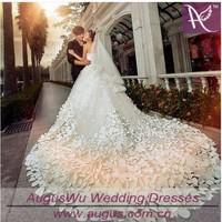 AWL3387 Instock Luxurious Long Train Swarovski  Crystals Wedding Dresses