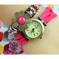 Women Vintage Wrist Weave Wrap Retro Candy Flower Quartz pu Leather  Bracelet Watch