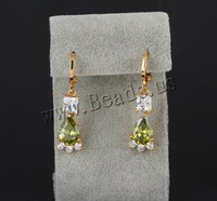 Free shipping!!!Brass Lever Back Earring,2013 new, 18K gold plated, with cubic zirconia, nickel, lead & cadmium free, 31x7mm
