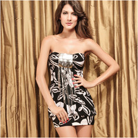 2014 New Women Clothing Chest Wrapped Dress Sexy Sequins Floral Slim Strapless One-piece Dress