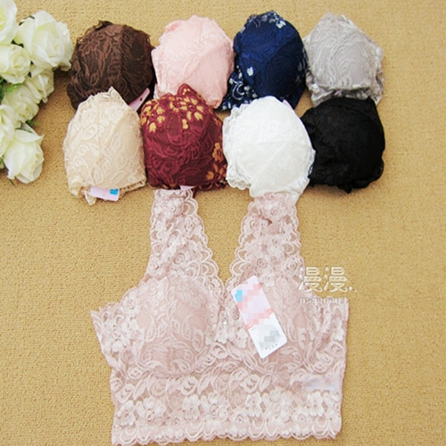 Full lace rhinestone wireless bra pad bra vest sleeping bra comfortable sexy(China (Mainland))