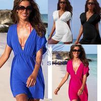 Sexy Hawaiian Dress Deep V Collar Hot 2014 Summer Women Beach Dresses Cut Out Nylon Swimwear Girls' Bikini Cover Up Beach 3630