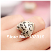 Retro hearts full of love letters fashion ring love heart ring Heart full of love letters Ring Min.order is $10 (mix order)