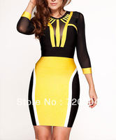 free shippingYELLOW & BLACK Mesh long sleeve Bandage Cocktail Party Evening Dresses HL