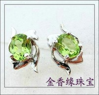 Natural peridot stud earring earrings earring interspersion 925 Women ears pure silver olive green