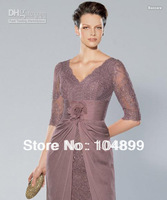 Cheap Noble V-neck Lace Purple Knee length HandmadeFlower Mother of the bride dresses Wedding Dress