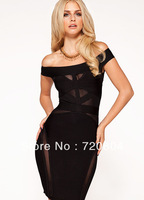 free shipping'ANTOINETTE' BLACK OFF THE SHOULDER  Bandage Cocktail Party Evening Dresses HL