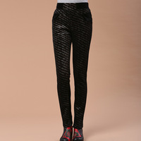 Mm winter plus size women's thickening plus velvet leopard print thermal elastic legging trousers