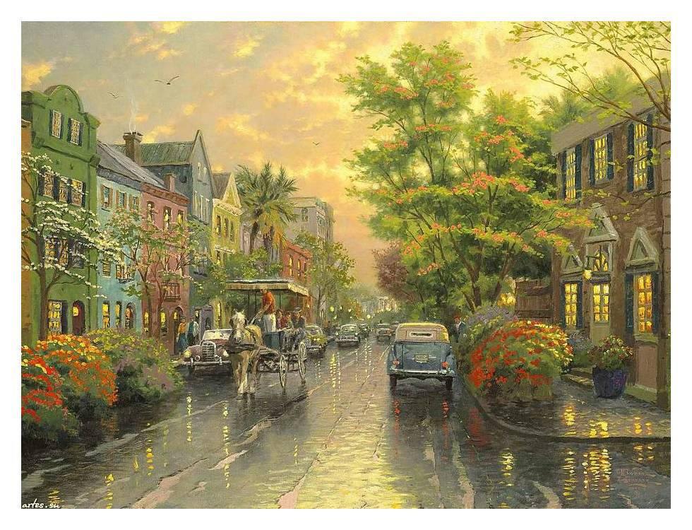 Thomas Kinkade charleston sunset rainbow row oil painting HD Print on canvas 12x16inch(China (Mainland))