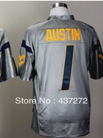 men's NCAA college football jersey West Virginia Mountaineers (WVU) #1 Tavon Austin  blue white yellow stitched football shirt