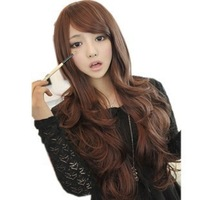 2014 Wavy Full Lace Wigs Long Natural Wigs Promotion Seconds Kill Perucas Wig Big Wave Style Synthetic Hair Wig With Bangs