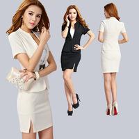 Formal work wear ol professional set women's skirt suits bow button blazer and short skirt set fashion office wear