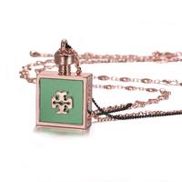 Vintage Rose Gold fine long necklace pendant