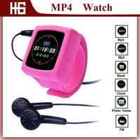 Hot Selling MP4 Watch Player,Digital Wrist Watch MP3 Mp4 Player,Wrist Watch with E-book/FM Radio/Calendar Freeshipping