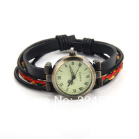Wholesale Cow Leather Watches,Antique Fashion Women Watches&Men Waches,Bracelet Watch ROMA Pointer,Free shipping