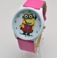 New 2013 watch Anime Children Novelty Cartoon Watches dress watch Despicable Me Minions Wristwatches Christmas Gift For Kids