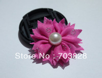 Free shipping Pearls center  flowers for headbands Hairbands Hair pins Hair clips baby hair accessories DIY flowers