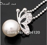 N067 Min.order Is $10(mix order) Fashion Korean Butterfly Beads White Pearl necklace, wholesale