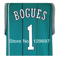 Free Shipping,#1 Tyrone Bogues - green Basketball jersey,Embroidery logos,Size S--3XL,Accept Mix Order