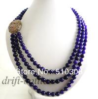 3strands 20'' purple faceted jade necklace
