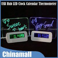 4 Port USB Hub Romantic LED Clock Calendar Thermometer Luminous Message Board Free Shipping & Drop Shipping