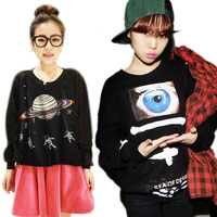 New 2013 Women Harajuku Long Sleeve Tops Saturn Astros Eye Galaxy Print Raglan Pullover Free&Drop Shipping