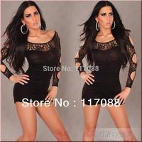 Free Shipping ML17914 Long Sleeve Cut Out Detail Hollow Out Black Women Winter Dress 2013