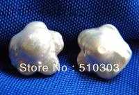 16MM White Reborn Baroque Freshwater Pearl Silver Stud Earrings 925