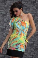 New women  Fashion Sexy 4colour ladies' novelty flower pattern casual dress sexy clubwear chemise 4133