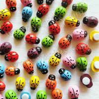 1000PCS/LOT.Mixed color mini wood ladybug stickers,Fridge Magnet,Easter decoration,Home decoration,Creative home supplies.13x9mm
