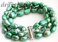 3Strands 8'' 9MM Green Baroque Freshwater Pearl Bracelet