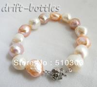Natural 13MM White Pink Lavender Baroque Freshwater Pearl Silver Bracelet