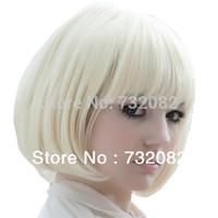 New Popular Kanekalon Short Straight women BOB Wig Heat Resistant Synthetic Hair Wig Creamy White Blonde E3270-white