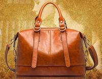 High Quality Genuine PU Leather Bags Women Leather Handbags Designers Brand Wax Cowhide Bag Vintage Fashion Shoulder Bags B243