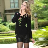 2014 Thin Sweater Women Limited Freeshipping Full Women Sweater Female Mink Jacquard V-neck Marten Velvet Slim Pullover Design