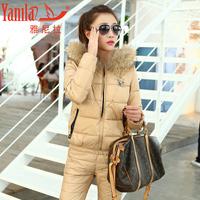 2013 winter women's thickening with a hood wadded jacket trousers female set fashion elegant slim female twinset