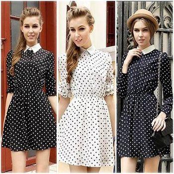 Офис дамы шифон с длинным рукавом тонкий нагрудные печатается точка платье новый 2015 свободного покроя мода лето современные женщины